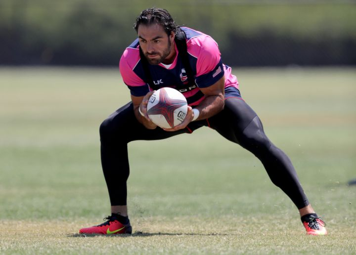 Nate Ebner catches a ball during a training session at the Olympic Training Center in Chula Vista, California, on July 14, 20