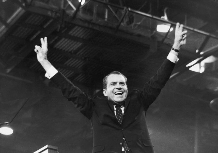 Richard Nixon celebratesafter receiving the presidential nomination at the Republican National Convention in Miami in 1968.