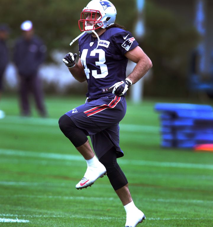Nate Ebner during a Patriots practice at Gillette Stadium on Sept. 25, 2015.