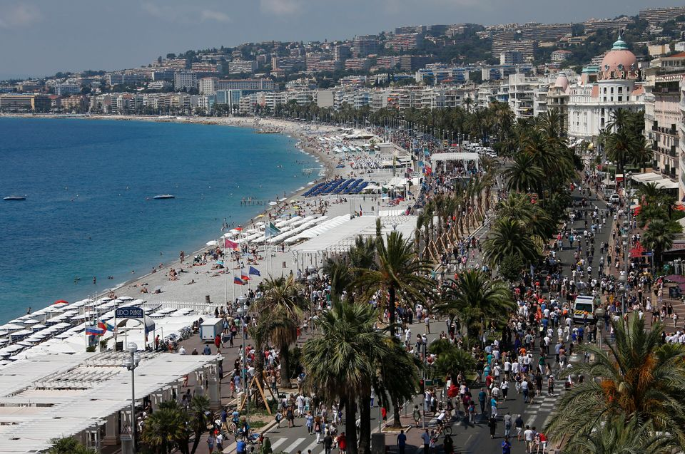 The Promenade des Anglais after a minute of silence on the third day of national mourning to pay tribute to victims of t