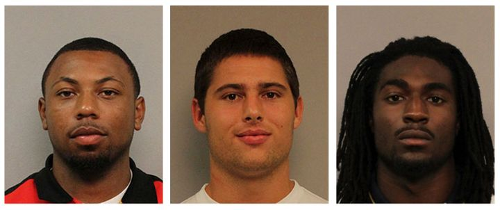 Three of the four men who have been convicted of gang-raping an unconscious 21-year-old woman. From left to right: Jabor