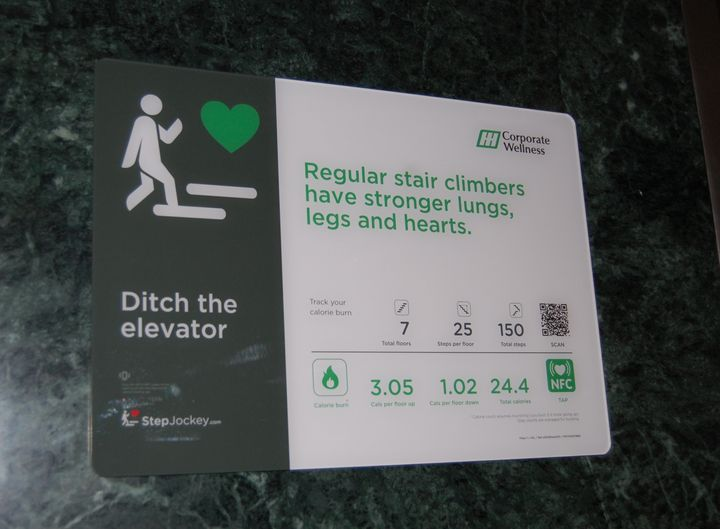 A sign at Huntsville Hospital in Alabama encouraging people to take the stairs.