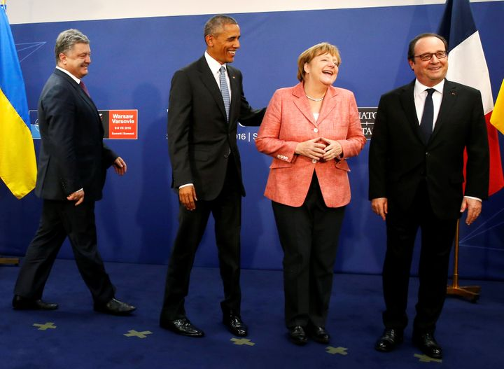 NATO leaders are in frequent talks withPetro Poroshenko, president of Ukraine (left), about the crisis that began in 20