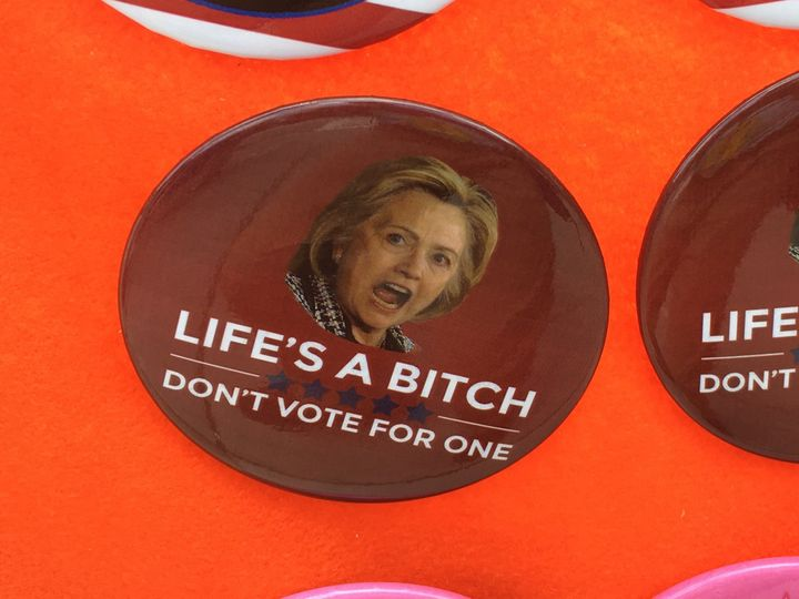 A particularly well-selling pin for sale outside the Republican National Convention in Cleveland.