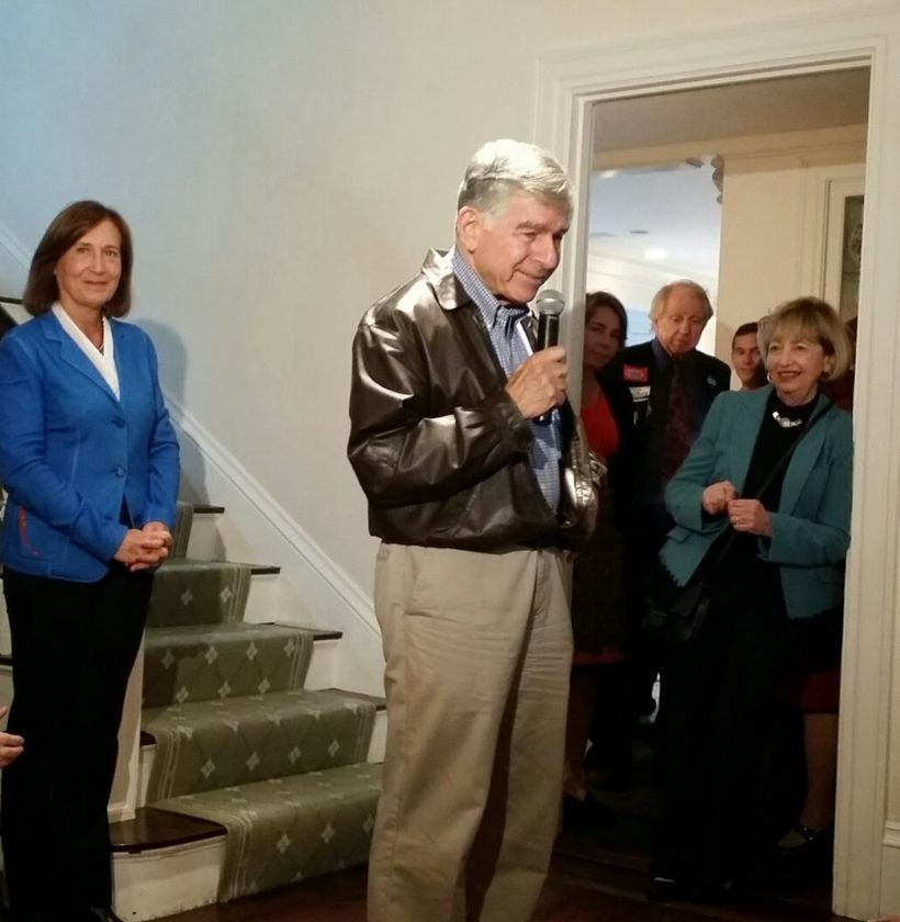 Michael S. Dukakis speaks at the home of Massachusetts State Treasurer Deborah Goldberg (l). Massachusetts State Senator Cynt