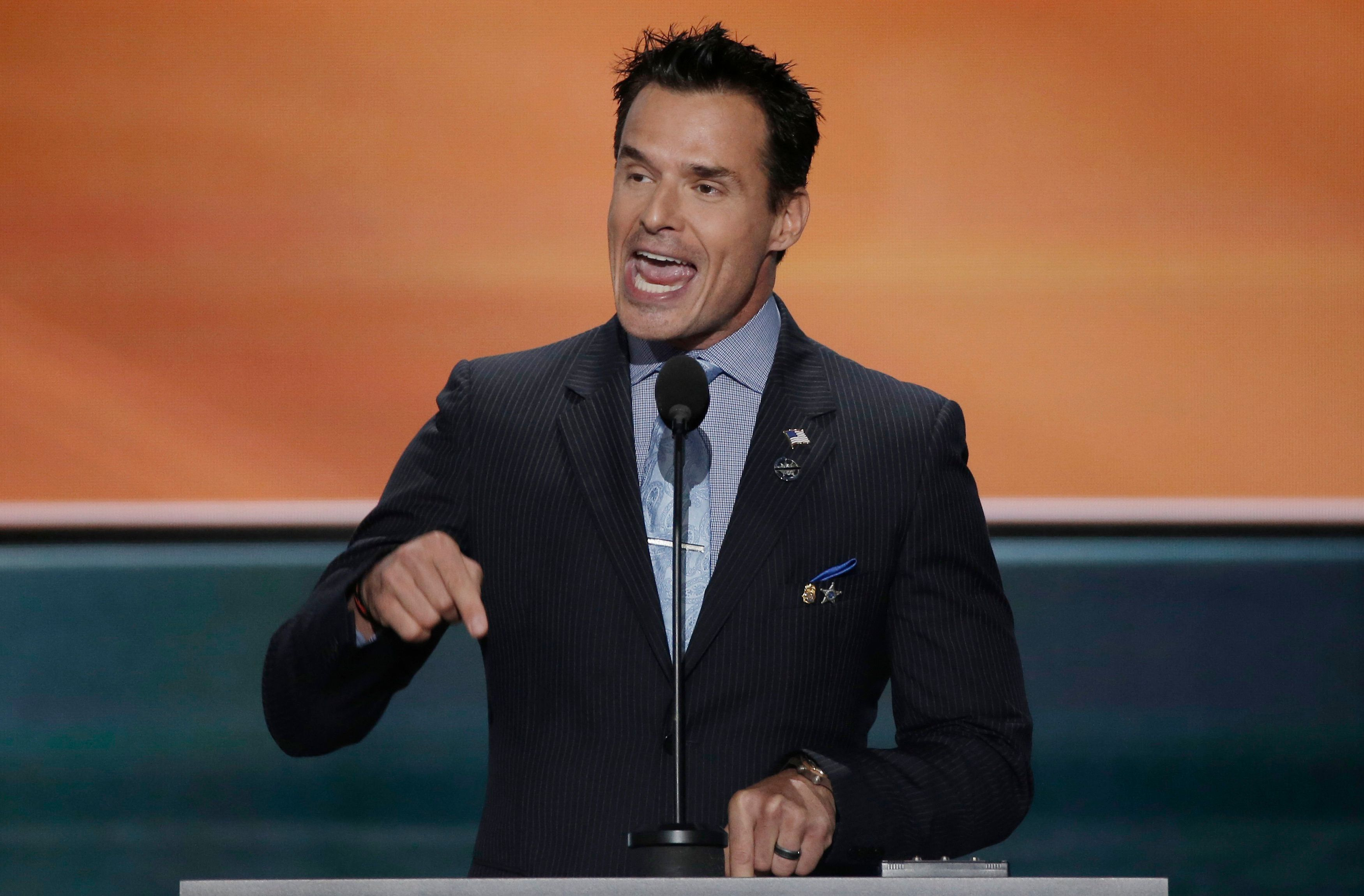 Actor Antonio Sabato Jr. speaks at the Republican National Convention in Cleveland, Ohio, U.S., July 18, 2016. REUTERS/Mike Segar