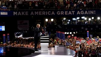 CLEVELAND, OH - JULY 18:  Presumptive Republican presidential nominee Donald Trump gives a thumbs up while introducing his wife Melania on the first day of the Republican National Convention on July 18, 2016 at the Quicken Loans Arena in Cleveland, Ohio. An estimated 50,000 people are expected in Cleveland, including hundreds of protesters and members of the media. The four-day Republican National Convention kicks off on July 18.  (Photo by Win McNamee/Getty Images)