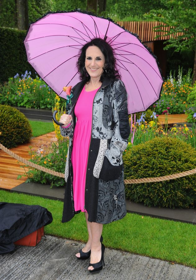 Lesley Joseph and a giant pink