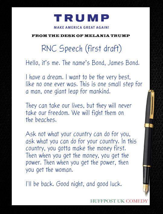 Melania Trump RNC Speech First Draft