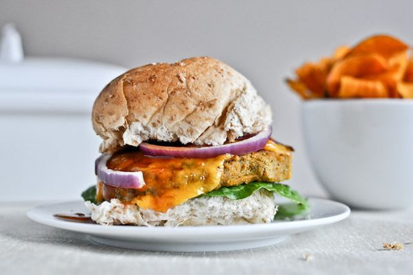 "Get the <a href=""http://www.howsweeteats.com/2012/03/bbq-cheddar-chickpea-burgers/"" target=""_blank"">BBQ Cheddar Chickpea Burg"