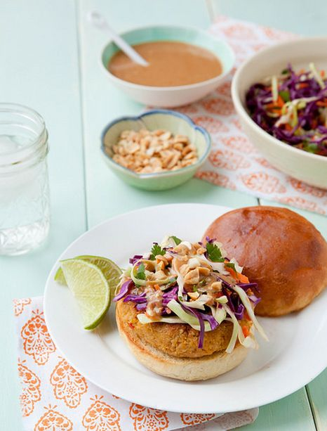 "<strong>Get the <a href=""http://www.annies-eats.com/2014/03/03/thai-veggie-burgers-with-peanut-sauce/"" target=""_blank"">Thai V"