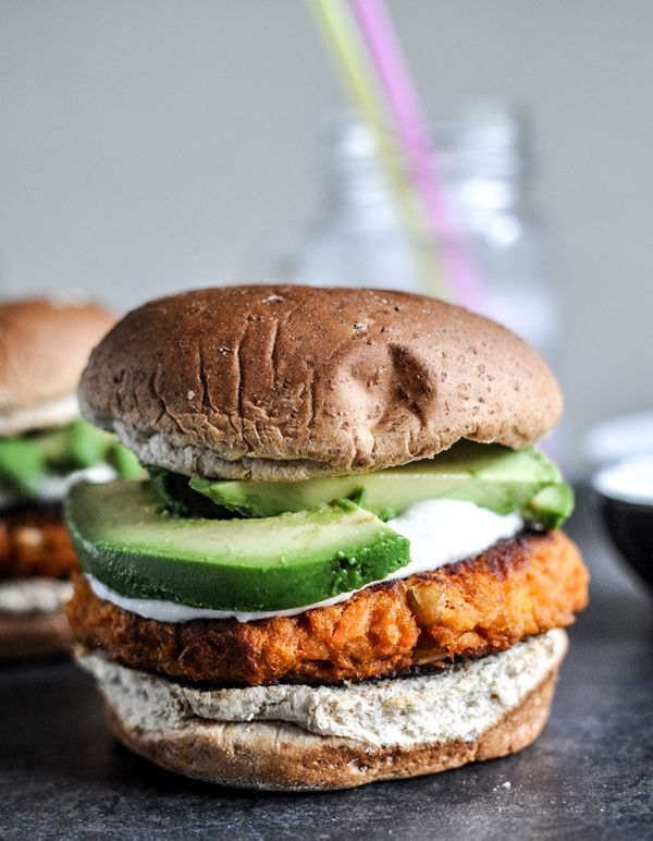 "<strong>Get the <a href=""http://www.howsweeteats.com/2012/09/smoky-sweet-potato-burgers-with-roasted-garlic-cream-and-avocado"