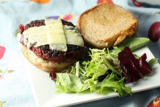 "<strong>Get the <a href=""http://www.macheesmo.com/2010/08/the-beet-burger/"" target=""_blank"">Beet Burgers recipe</a> from Mach"
