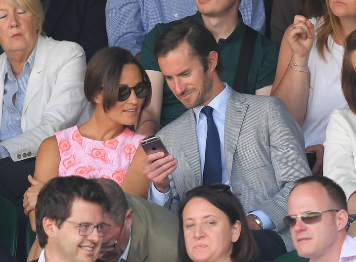 Pippa Middleton and James Matthews attend Wimbledon on July 6.