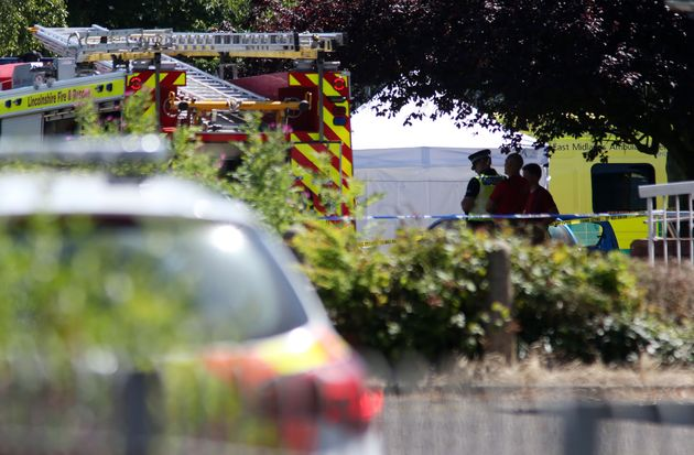 Emergency services at the scene near Castle Swimming Pool in Spalding,