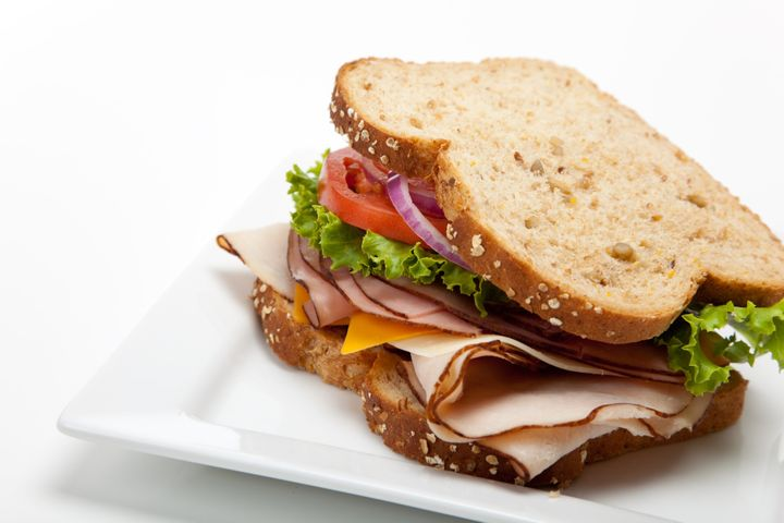 Police say the officer was hospitalized after finding shards of glass in his sandwich, a similar one pictured here.