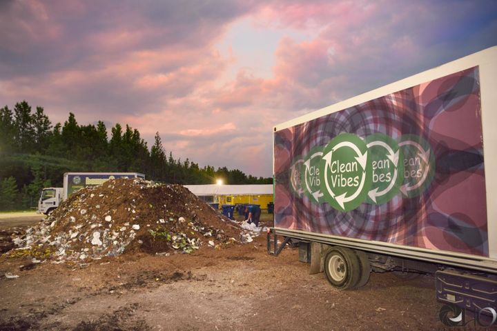 A Clean Vibes truck ready to be loaded up with compost at Bonnaroo 2016.