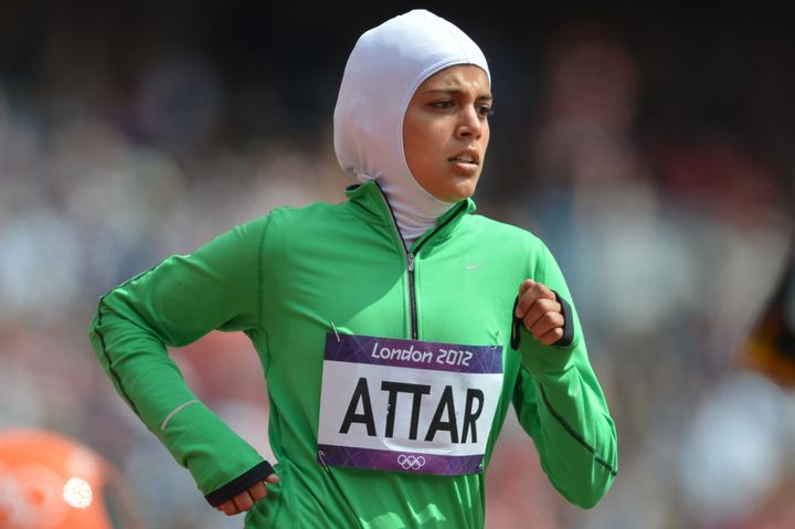 Sarah Attar, who became the first woman from Saudi Arabia to run in the Olympics at the 2012 London Games (she's pictured in