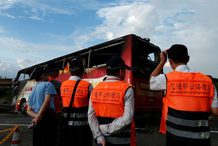 The bus wascarrying 24 Chinese tourists.