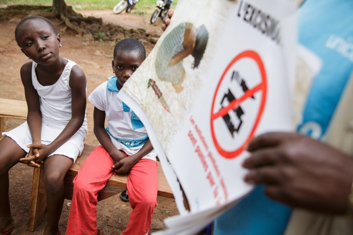 Girls attend a community meeting on FGM, in the northern town of Katiola in Côte d'Ivoire.The meeting was organiz