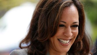 BRENTWOOD, CA - JUNE 7, 2016 - California Attorney General Kamala Harris, running for the U.S. Senate, is all smiles after casting her vote at the Kenter Canyon Elementary Charter School Auditorium in Brentwood on June 7, 2016. (Photo by Genaro Molina/Los Angeles Times via Getty Images)