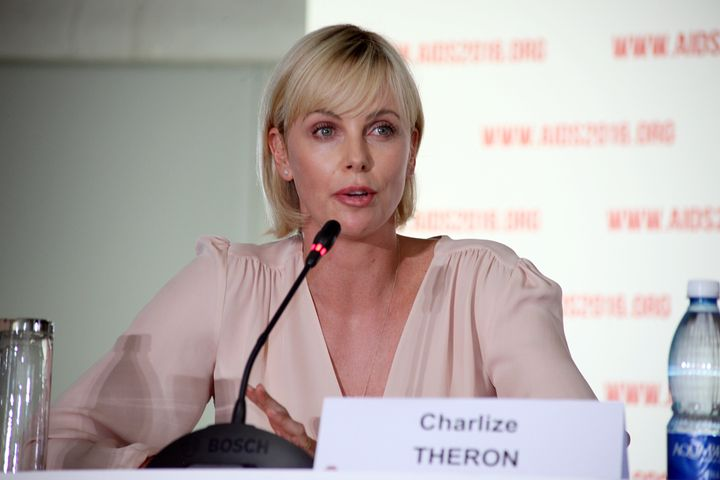 South Africa actress Charlize Theron speaks during the first official press conference of the 21st International Aids Confere