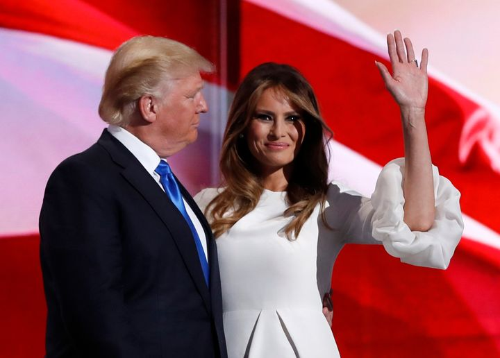 Melania Trump takes the stage with husband and soon-to-be Republican presidential nominee Donald Trump. Her speech Monday con