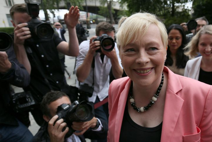 Britain's opposition Labour Party leadership hopeful Angela Eagle arrives at a news conference in London, Britain July 11, 20