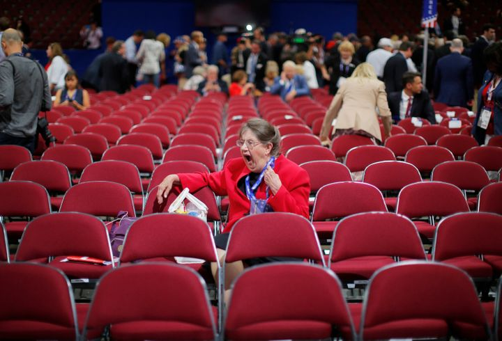 A delegate yawns prior to the start of the evening portion of the Republican National Convention in Cleveland, Ohio, U.S. Jul