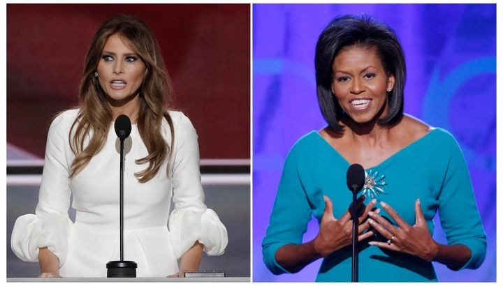 Melania Trump, left, channeled Michelle Obama, right, during her address to the Republican National Convention on Monday