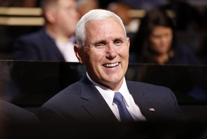 Mike Pence, presumptive 2016 Republican vice presidential nominee, smiles during the Republican National Convention in Clevel