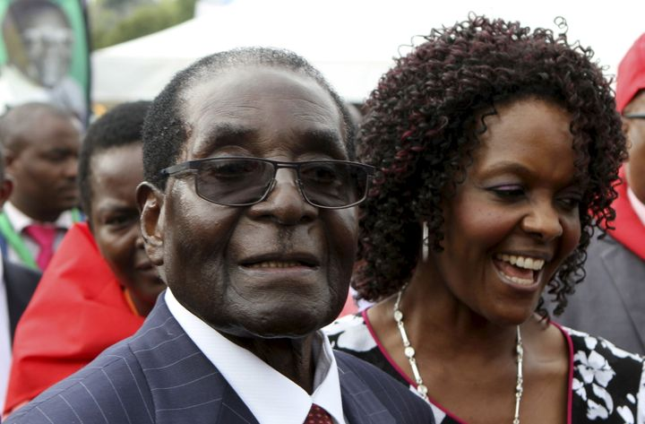 President Robert Mugabe and his wife Grace at his lavish 92nd birthday party in February.