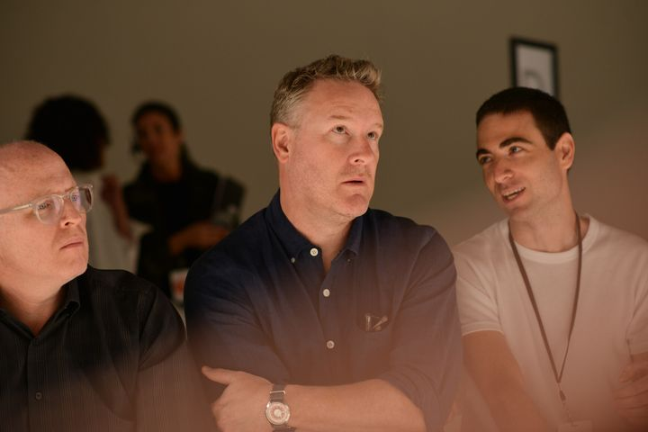 Todd Snyder, center, watches the rehearsal of his fashion show at New York Fashion Week: Men's S/S 2017 in New York City on July 14, 2016.