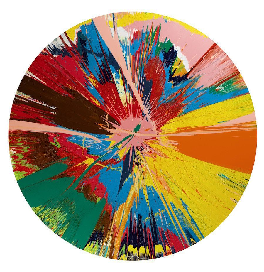 """Damien Hirst, """"Beautiful, Shattering, Slashing, Violent, Pinky, Hacking, Sphincter Painting,"""" 1995 Household gloss on canvas"""