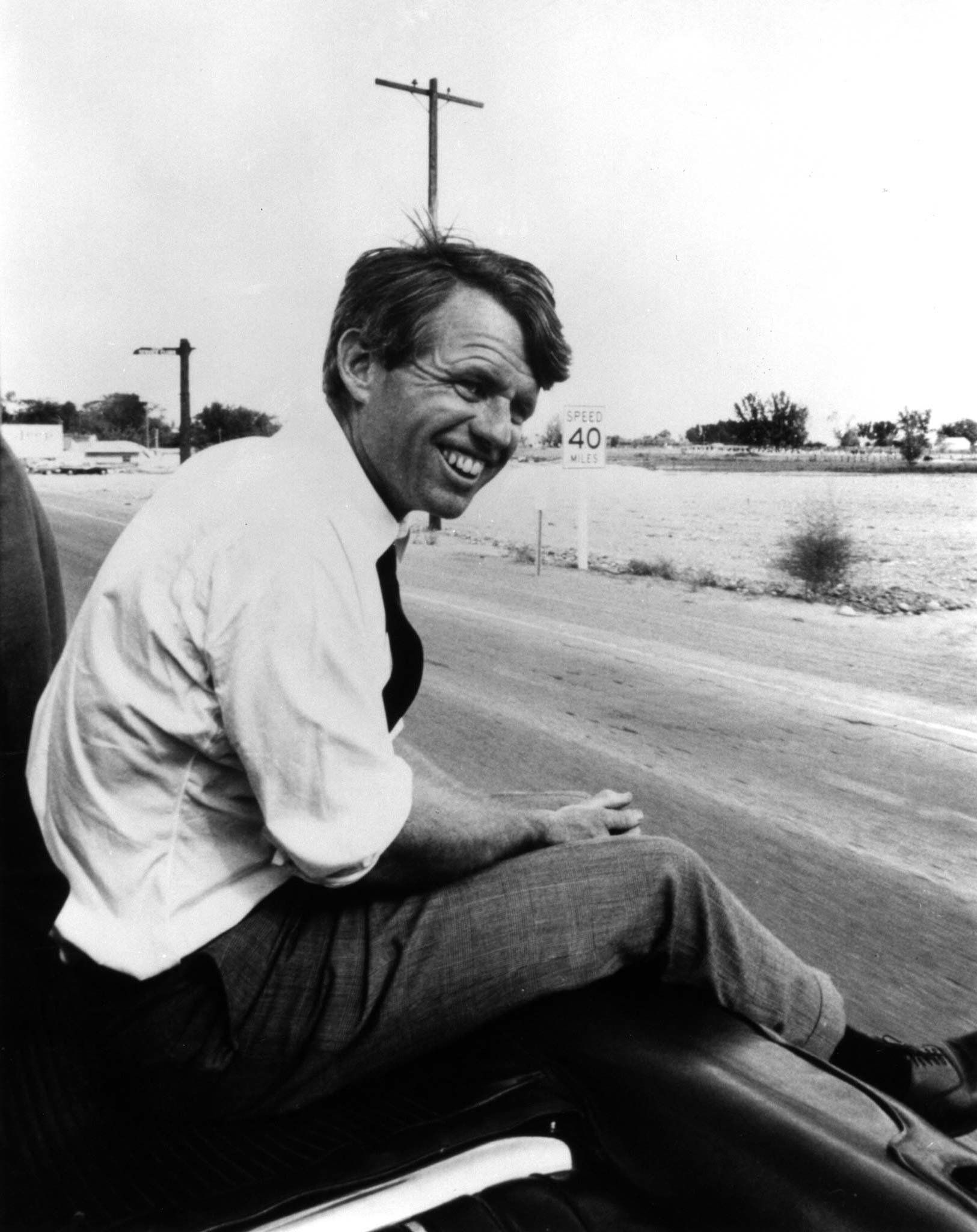 - 1968 FILE PHOTO  - Robert F. Kennedy sits alongside the motorcade in this 1968 file photograph.  Robert Kennedy was shot 30 years ago in Los Angeles June 5, 1968 and died the following day.  (B&W ONLY)