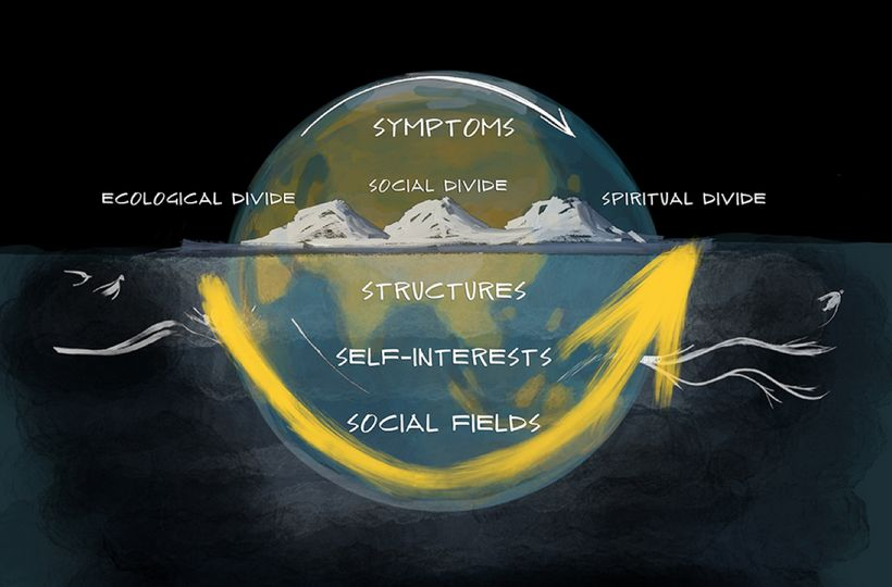 Figure 1: Four levels: symptoms, structures, interests, social fields
