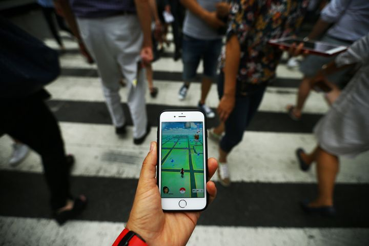 "Walking while playing ""Pokemon Go"" in New York City, July 13, 2016."