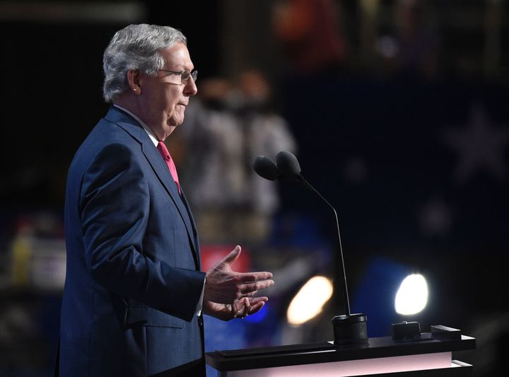 Senate Majority Leader Mitch McConnell didn't get much love from the audience when he spoke Tuesday at the Republican Nationa