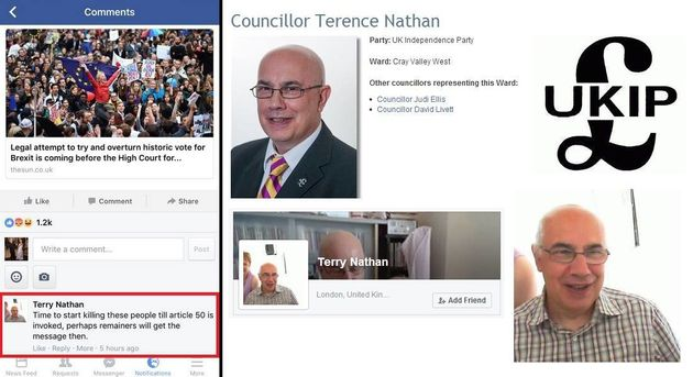 Ukip Councillor Terence Nathan Calls For Remainers To Be