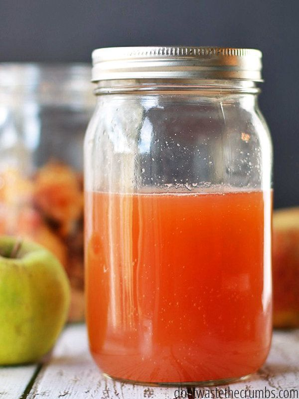"<strong>Get the <a href=""http://dontwastethecrumbs.com/2014/10/diy-homemade-apple-cider-vinegar-using-peels-and-cores/"" targe"