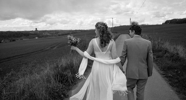 The bride wore a second-hand wedding dress that she found on