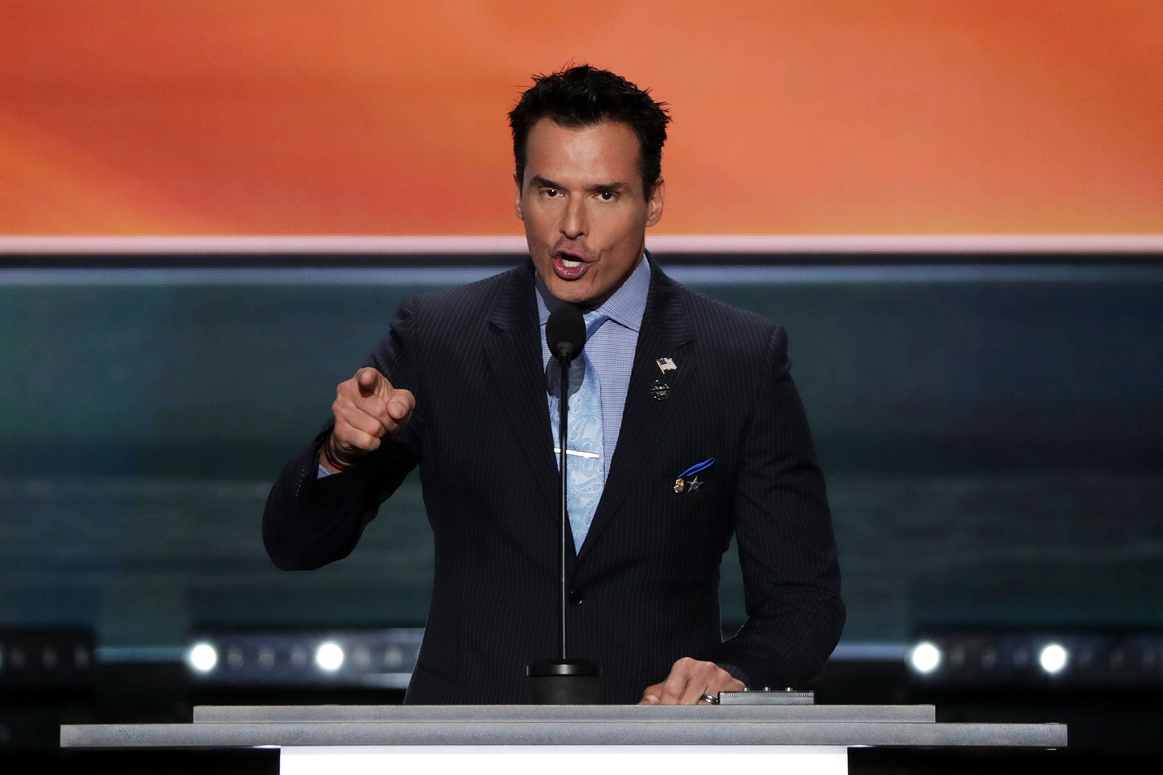 CLEVELAND, OH - JULY 18:  Antonio Sabato Jr. delivers a speech on the first day of the Republican National Convention on July 18, 2016 at the Quicken Loans Arena in Cleveland, Ohio. An estimated 50,000 people are expected in Cleveland, including hundreds of protesters and members of the media. The four-day Republican National Convention kicks off on July 18.  (Photo by Alex Wong/Getty Images)