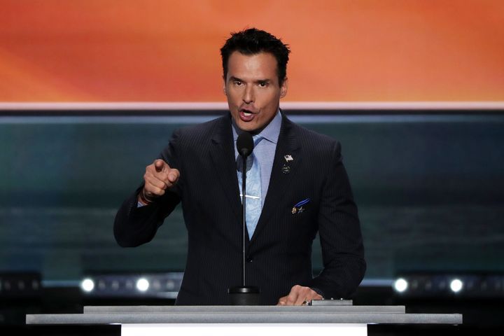 Antonio Sabato Jr. delivers a speech on the first day of the Republican National Convention on July 18.