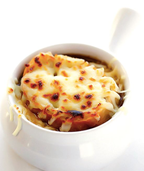 """<strong>Get the <a href=""""http://www.gimmesomeoven.com/classic-french-onion-soup/"""" target=""""_blank"""">French Onion Soup recipe</a"""