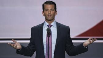 Donald Trump Jr. speaks about his father, Republican U.S. presidential nominee Donald Trump, during the second day of the Republican National Convention in Cleveland, Ohio, U.S. July 19, 2016.  REUTERS/Mike Segar
