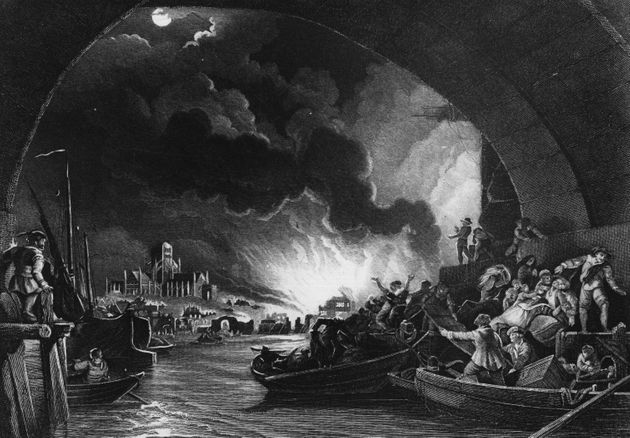 A view from a painting of the great fire of London, as seen from the