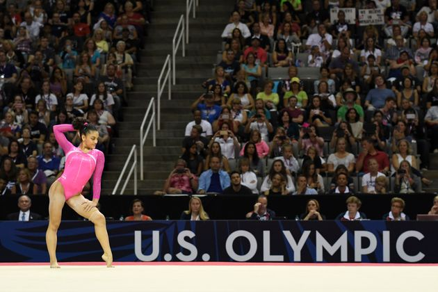 Laurie Hernandez during a floor exercise at the women's Olympic gymnastics