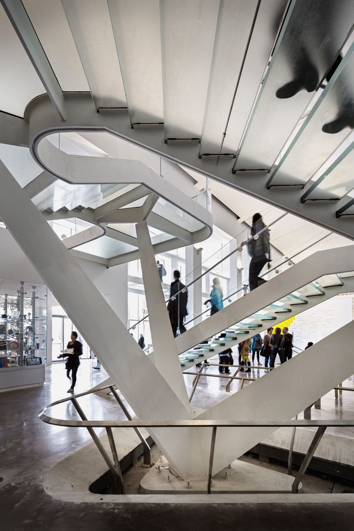 """An inviting and """"active"""" staircase inthe Queens Museum."""