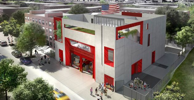 A rendering of a Brooklyn fire station that will have a green roof and daylight