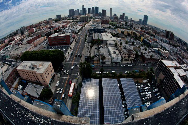 Solar panels in a parking lot near downtown Los Angeles, California.